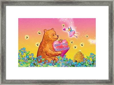 Honey Bear And Fairy Valentine Framed Print by Teresa Ascone