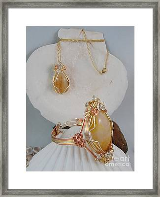 Honey Quartz Necklace And Bracelet Set Framed Print by Vivian Martin