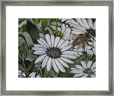 Framed Print featuring the painting Honeybee Taking The Time To Stop And Enjoy The Daisies by Kimberlee Baxter