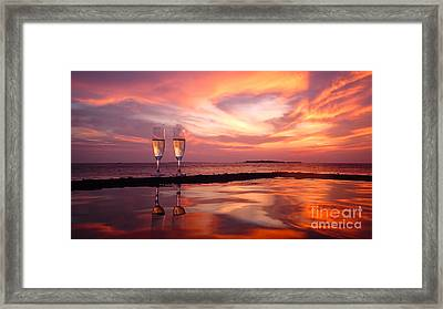 Honeymoon - A Heart In The Sky Framed Print by Hannes Cmarits