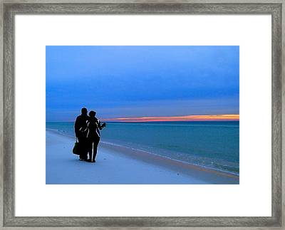 Honeymooners At Dawn On Pensacola Beach Framed Print by Cindy Croal