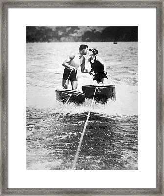 Honeymooners On Sf Bay Framed Print by Underwood Archives