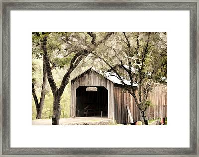 Honeyrun Covered Bridge Framed Print