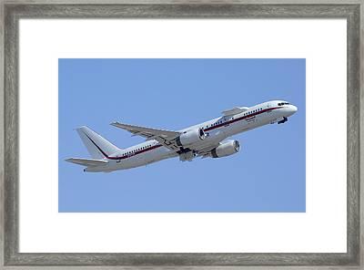 Honeywell Boeing 757 Engine Testbed N757hw Phoenix August 9 2013 Framed Print by Brian Lockett