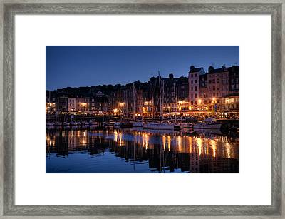 Honfleur At Night Framed Print by CR  Courson