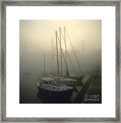 Honfleur Harbour In Fog. Calvados. Normandy Framed Print by Bernard Jaubert