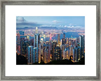 Hong Kong At Dusk Framed Print by Dave Bowman
