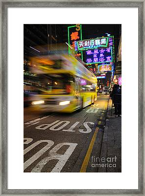 Hong Kong Bus Framed Print by Colin Woods