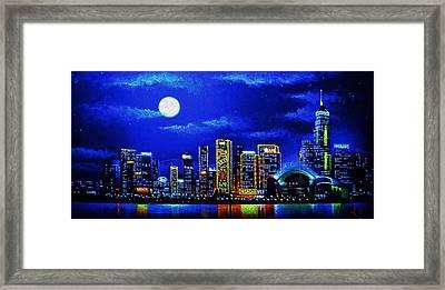Hong Kong By Black Light Framed Print by Thomas Kolendra