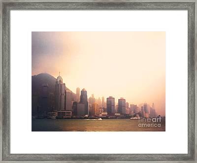 Hong Kong Harbour Sunset Framed Print by Pixel  Chimp