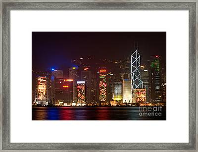 Hong Kong Holiday Skyline Framed Print by Ei Katsumata