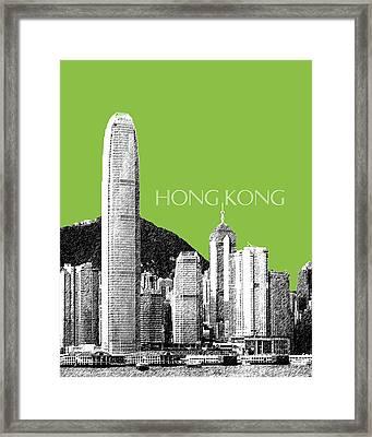 Hong Kong Skyline 1 - Olive Framed Print by DB Artist