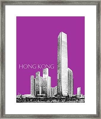 Hong Kong Skyline 2 - Plum Framed Print by DB Artist