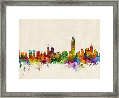 Hong Kong Skyline Framed Print by Michael Tompsett