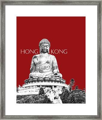 Hong Kong Skyline Tian Tan Buddha - Dark Red Framed Print by DB Artist