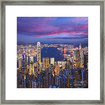 Hong Kong Skyline Twilight Square Framed Print by Colin and Linda McKie
