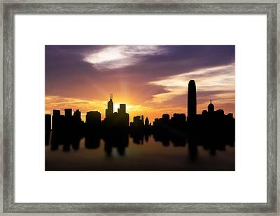 Hong Kong Sunset Skyline  Framed Print by Aged Pixel