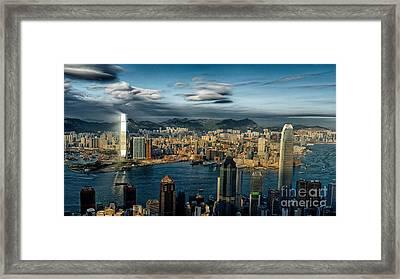 Hong Kong Victoria Bay Framed Print by Thierry CHRIN