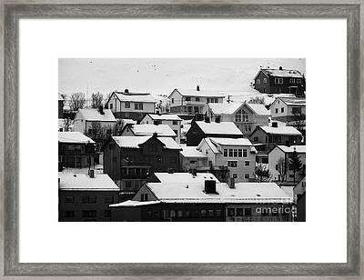 Honningsvag Town Traditional Wooden Houses Finnmark Norway Europe Framed Print by Joe Fox