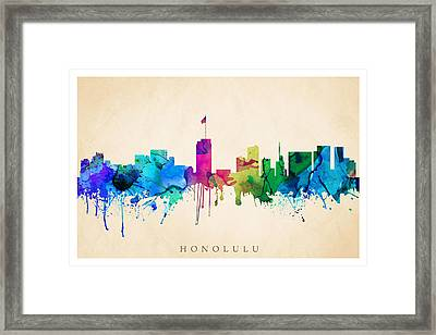 Honolulu Cityscape Framed Print