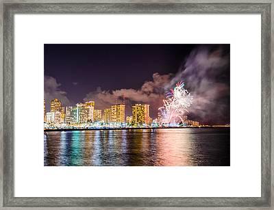 Honolulu Fireworks 3 Framed Print by Jason Chu