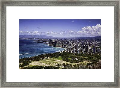 Honolulu From Diamond Head Framed Print by Joanna Madloch
