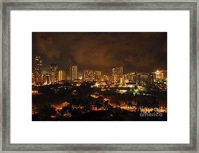 Framed Print featuring the photograph Honolulu Glow by Gina Savage
