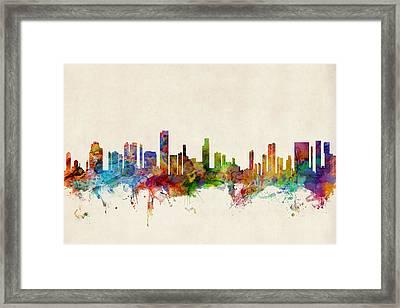 Honolulu Hawaii Skyline Framed Print