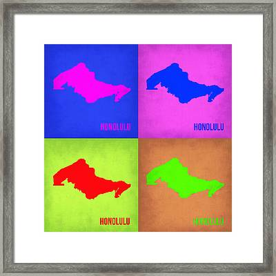 Honolulu Pop Art Map 1 Framed Print by Naxart Studio
