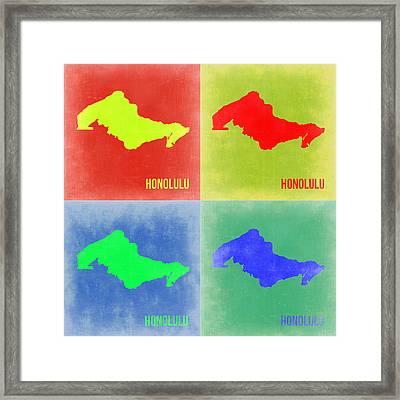 Honolulu Pop Art Map 2 Framed Print by Naxart Studio