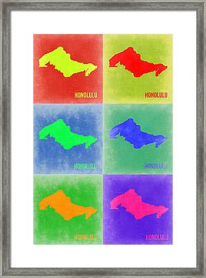 Honolulu Pop Art Map 5 Framed Print by Naxart Studio