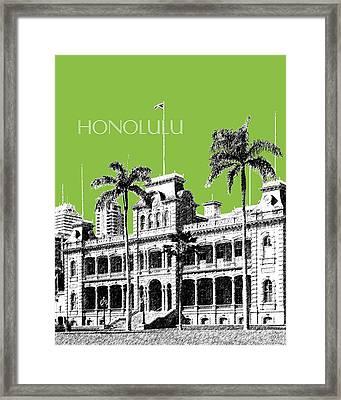 Honolulu Skyline Iolani Palace - Olive Framed Print by DB Artist