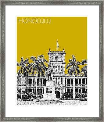 Honolulu Skyline King Kamehameha - Gold Framed Print by DB Artist
