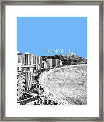Honolulu Skyline Waikiki Beach - Light Blue Framed Print by DB Artist