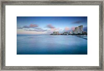 Honolulu Waikiki Early Morning Framed Print by Tin Lung Chao