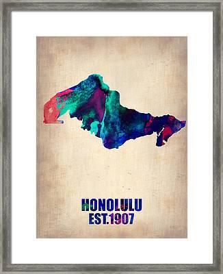 Honolulu Watercolor Map Framed Print by Naxart Studio