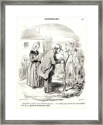 Honoré Daumier French, 1808 - 1879. Ma Greffe Dun Cerisier Framed Print by Litz Collection