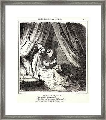 Honoré Daumier French, 1808 - 1879. Un Réveil En Sursaut Framed Print by Litz Collection