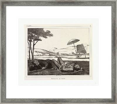 Honore Daumier, 1808 1879, Paysagistes Au Travail Framed Print by English School