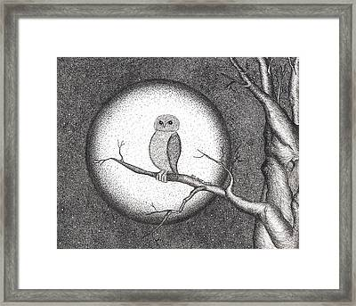 Owl Pointillism Framed Print
