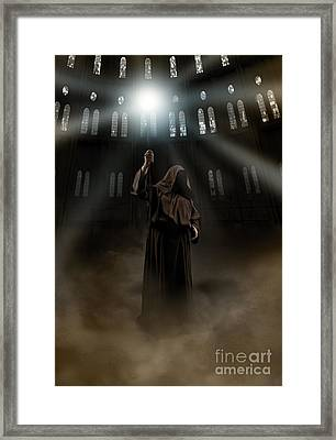 Hooded Man Holding Glowing Wizard Staff  Framed Print