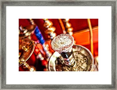 Hookah With Red Background Framed Print by Shanna Gillette