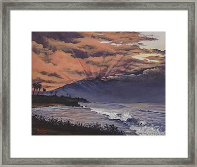 Hookipa Sunset Framed Print by Darice Machel McGuire