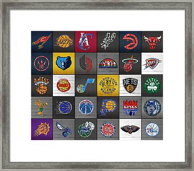 Hoop It Up Recycled Vintage Basketball League Team Logos License Plate Art Framed Print by Design Turnpike