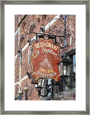 Hoorn Restaurant Sign Framed Print by Carol Groenen