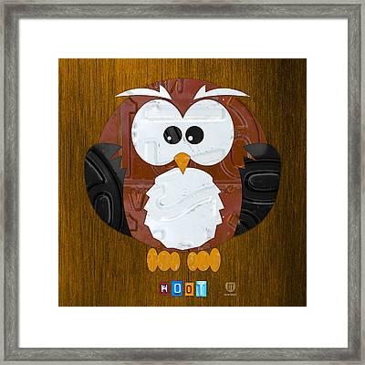 Hoot The Owl License Plate Art Framed Print by Design Turnpike
