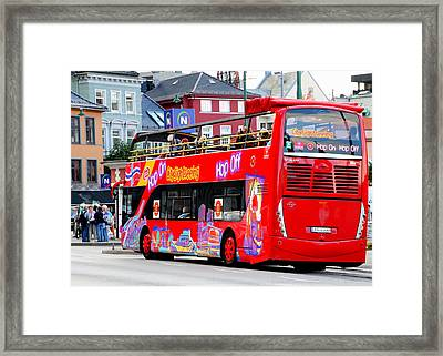 Hop On And Hop Off Bus In Bergen Framed Print by Laurel Talabere