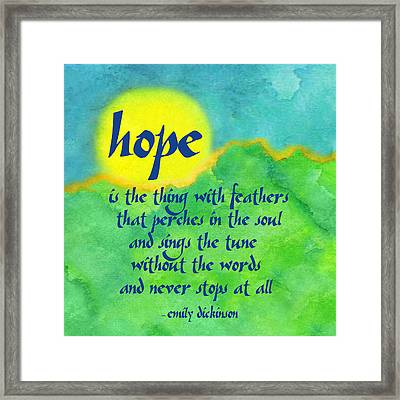 Hope By Emily Dickinson Framed Print by Ginny Gaura