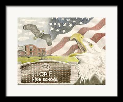Brick Schools Drawings Framed Prints