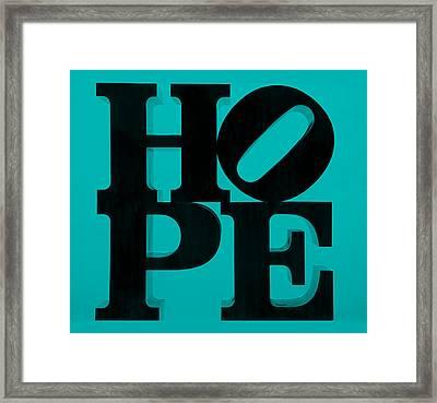 Hope In Light Blue Framed Print